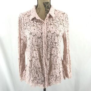 BCBGMaxAzria Pink Floral Lace Bell Sleeve Shirt